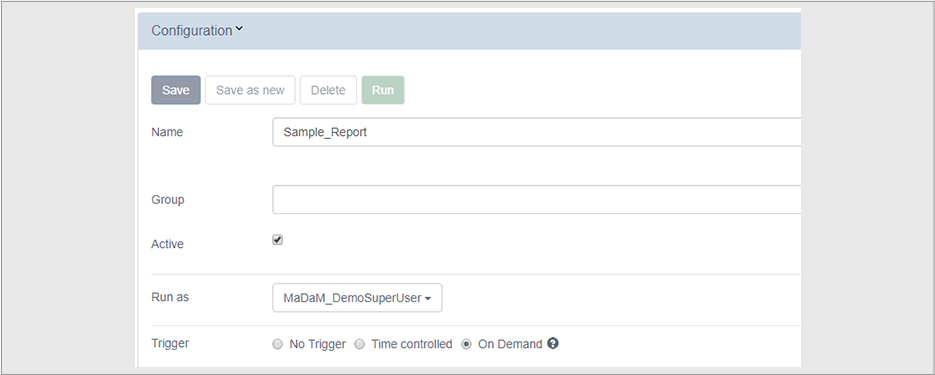 Proactive event-based reporting functions in MaDaM