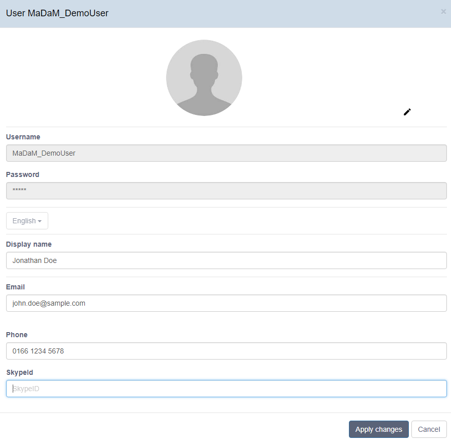 Individual profiles for users in MaDaM