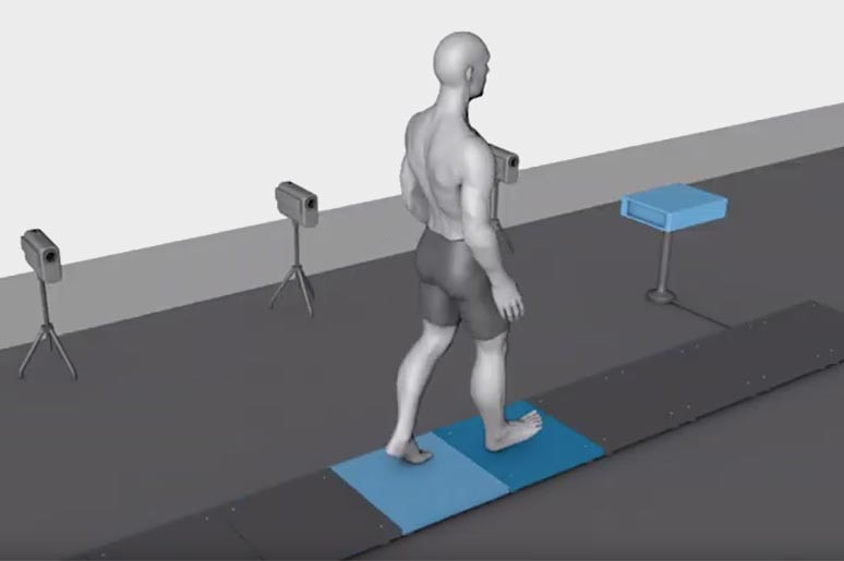 Measurement of the ground reaction force (GRF) during gait analysis.