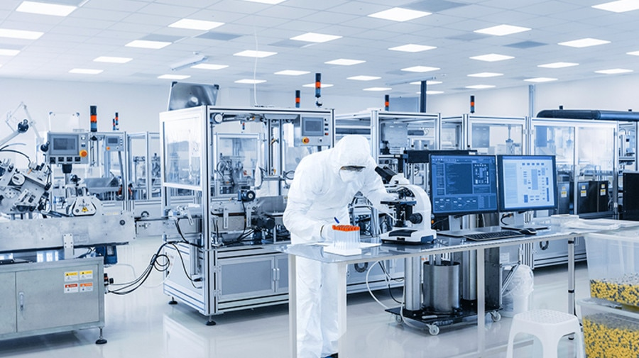 Automated clean-room production of medical devices sets demanding requirements for machinery and plant.